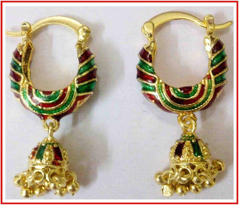22k gold earrings india 22k 24k gold plated indian jewelry green meena 9605