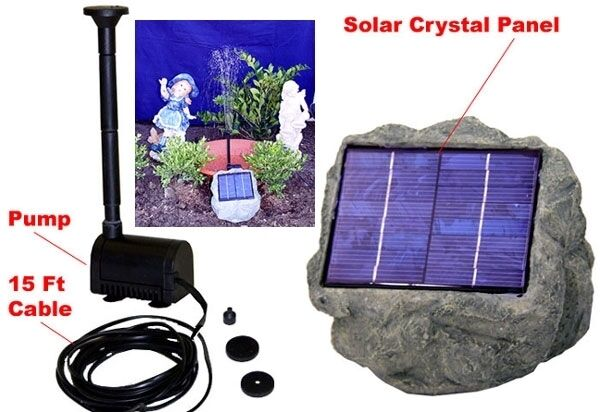 solar panel rock w 1 2w submersible waterfall pump for pond tank or pools ebay. Black Bedroom Furniture Sets. Home Design Ideas