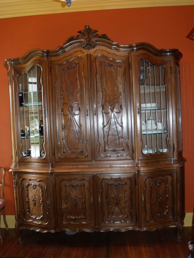 antique carved china cabinet hutch unique french or