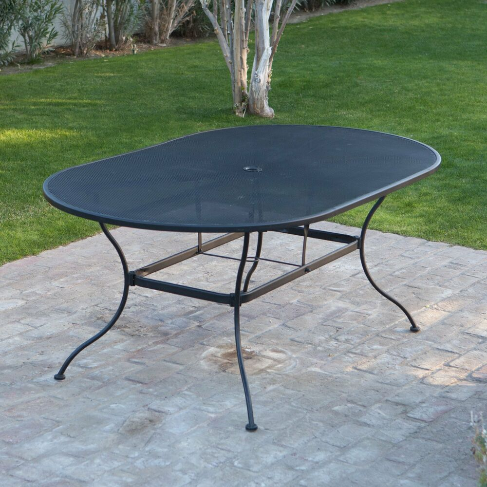 Large patio table black mesh wrought iron poolside deck for Patio furniture table