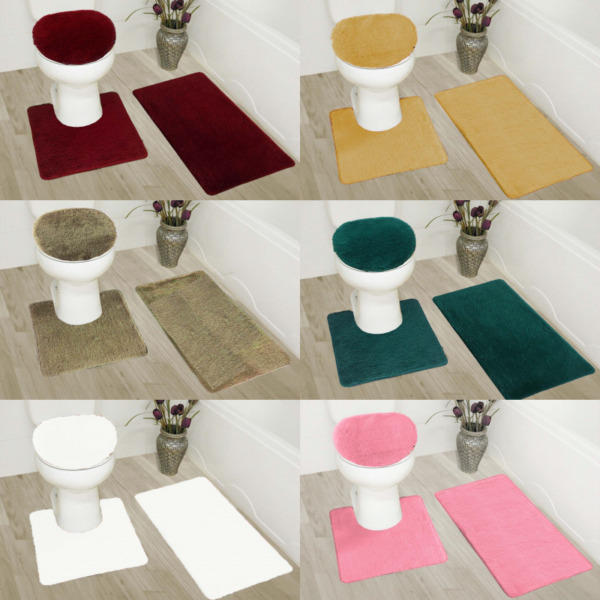 3PC BATHROOM SET RUG CONTOUR MAT TOILET LID COVER SOLID EMBROIDERY BATHMATS #5