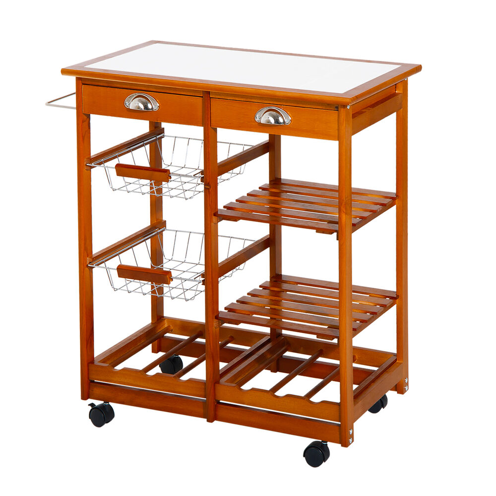 Wagon Cart Buffet ~ Tier rolling kitchen trolley cart storage drawer buffet