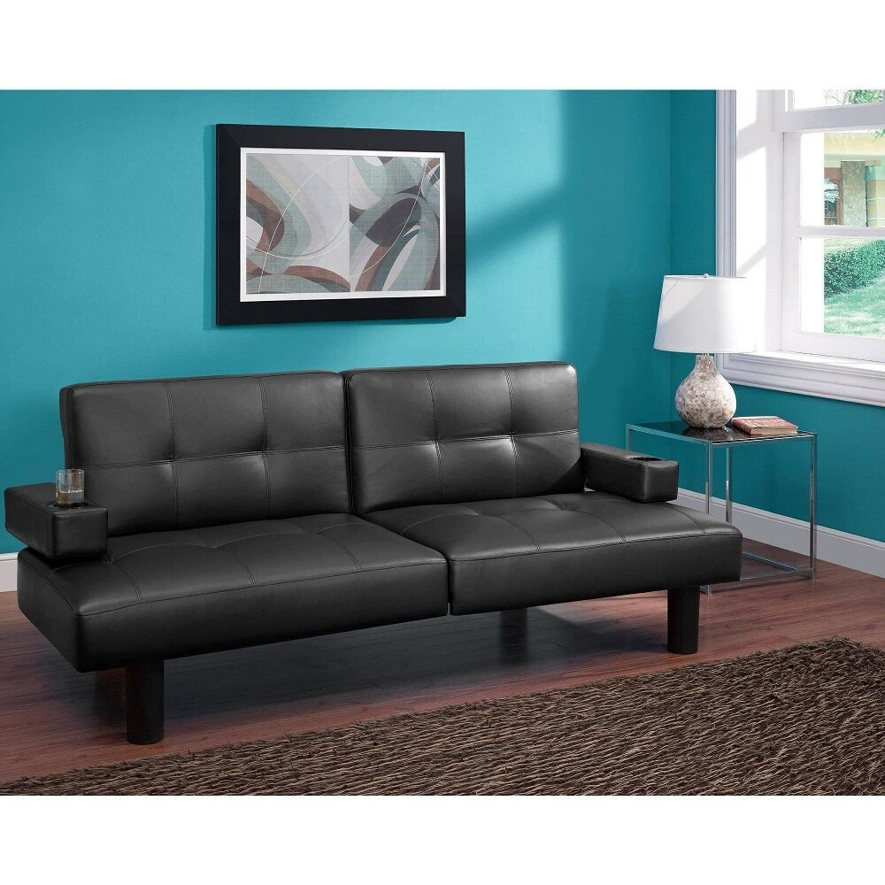 Futon Sofa Bed Sleeper Split Back Faux Leather Adjustable
