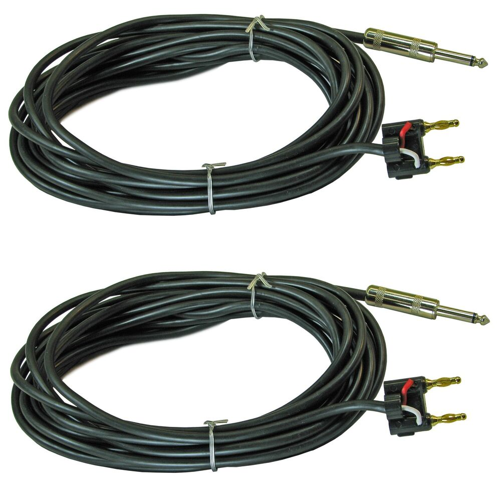 2x 1 4 mono to dual banana plug pa dj speaker cables cords 25 ft feet foot pair ebay. Black Bedroom Furniture Sets. Home Design Ideas