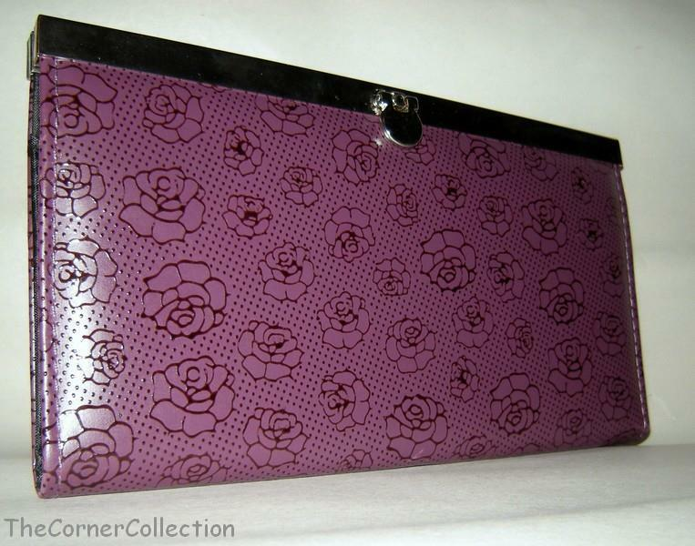 Plum Purple Rose Floral Print Accordion Wallet Clutch W