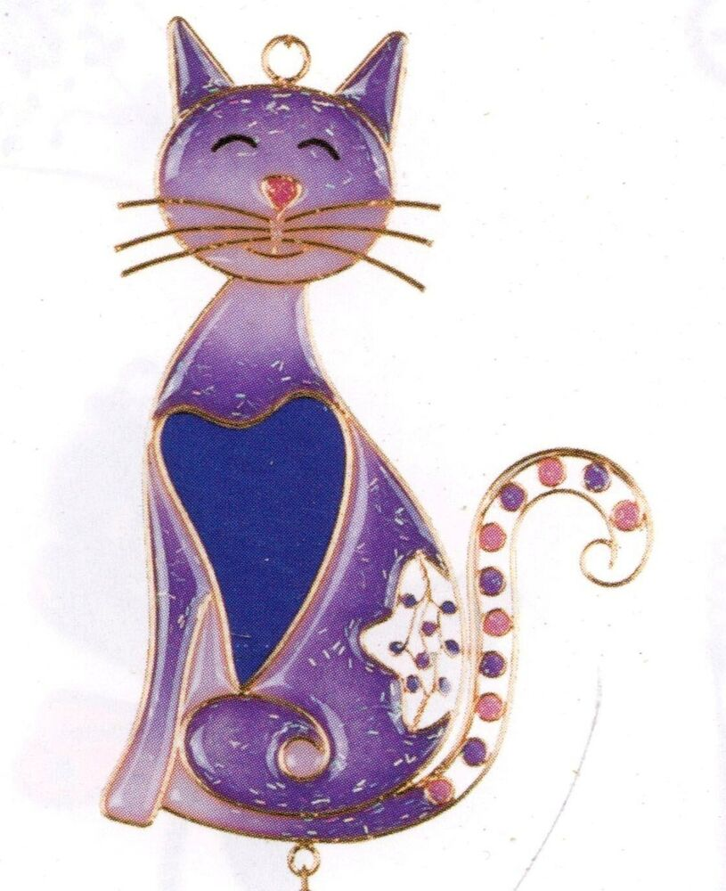 Kitty cat adorable cat copper wind chimes garden decor cat for Cat yard art