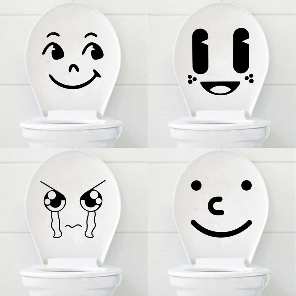 Funny Cartoon Smile/Cry Face Toilet Seat Stickers Bathroom ...