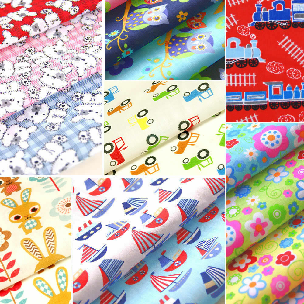 Childrens fabric polycotton kids material nursery boy girl for Children s cotton dress fabric