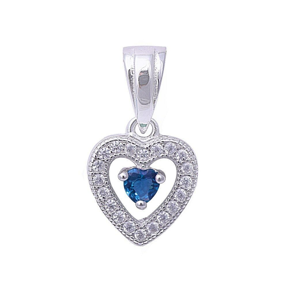 Blue Sapphire Amp Pave Cubic Zirconia Heart 925 Sterling
