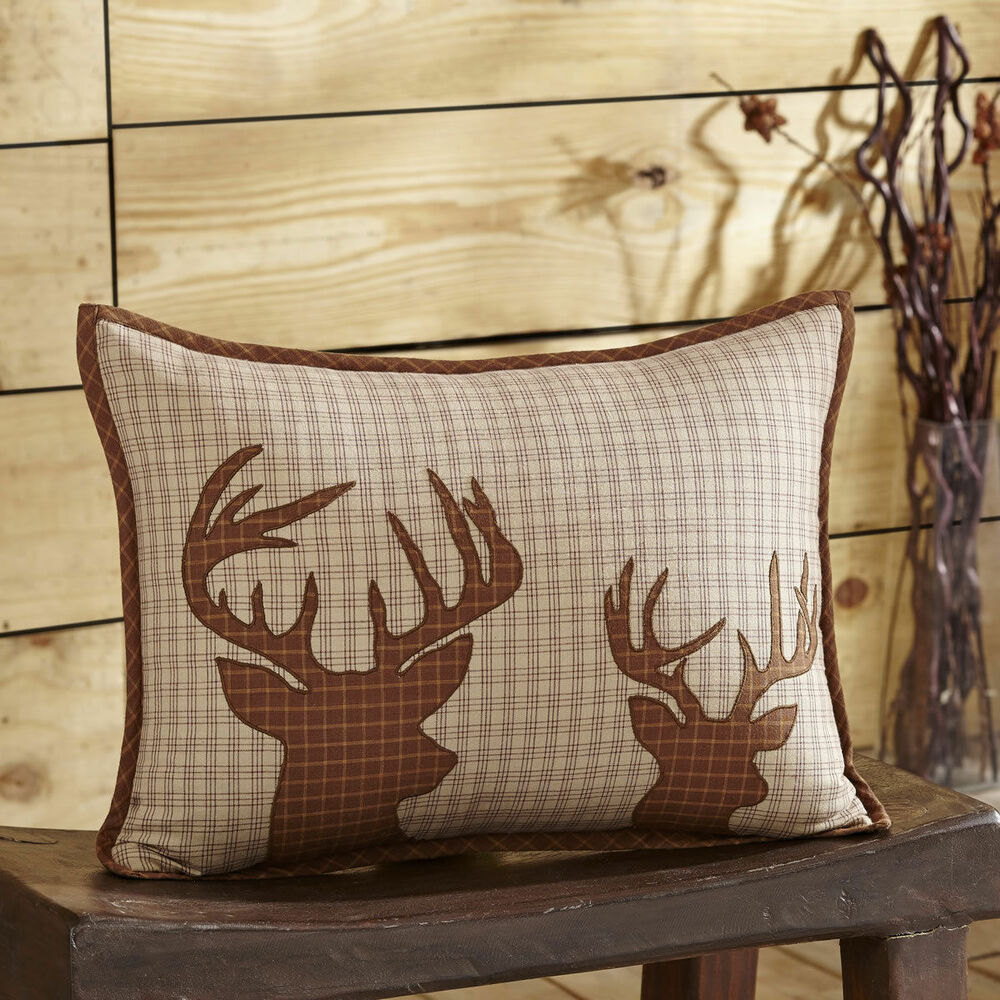 12 POINT BUCK ACCENT PILLOW : HUNTING CABIN LODGE DEER