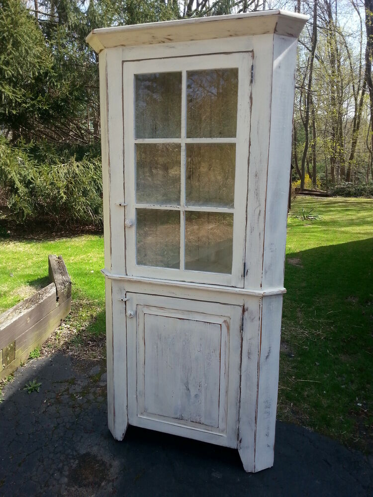 Antique Amish Built Unfinished Reclaimed Barn Wood Corner Cabinet W Glass Door Ebay