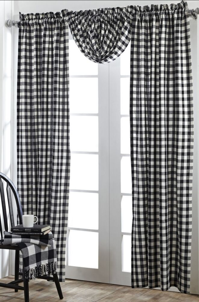 ... BLACK CHECKS WINDOW PANEL SET : WHITE PLAID COUNTRY COTTAGE CURTAIN
