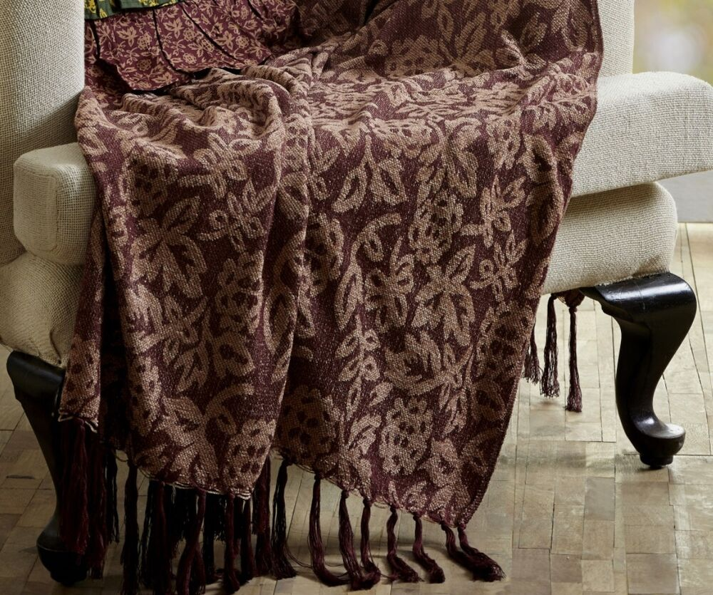 Burgundy Floral Chenille Throw 100 Woven Jacquard Wine