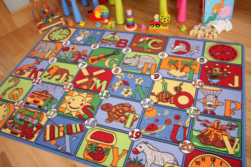 children 39 s rugs boys play mat roads farm letters small large cheap kids carpets ebay. Black Bedroom Furniture Sets. Home Design Ideas