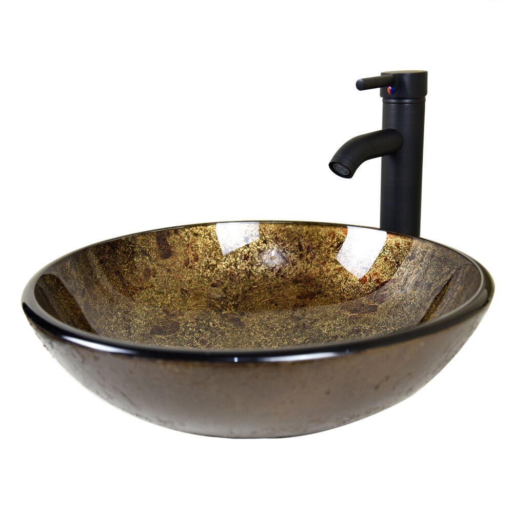 Bathroom Round Glass Vessel Sink W Oil Rubbed Bronze Faucet Pop Up Drain Combo Ebay