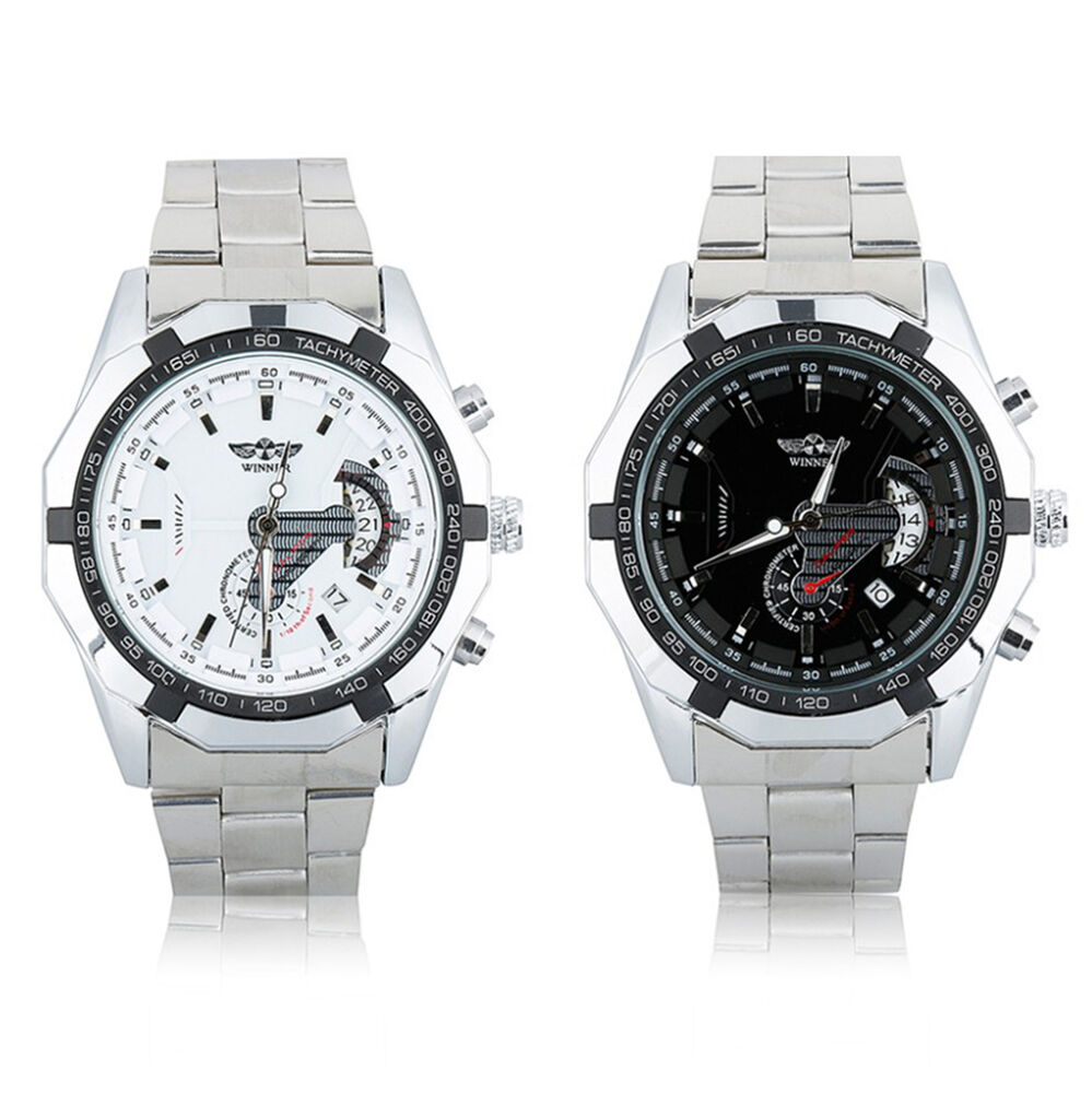 winner mens automatic mechanical 2 colors date silver