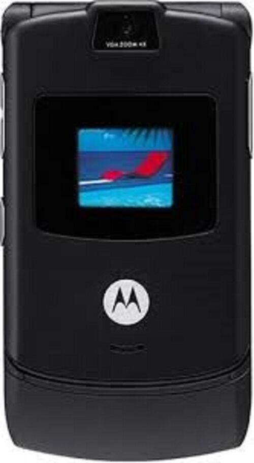 motorola razr v3 black unlocked cellular basic flip. Black Bedroom Furniture Sets. Home Design Ideas