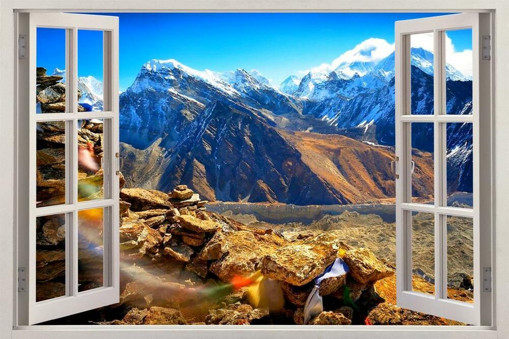 Mountains in tibet 3d window view decal wall sticker home for Mural nature