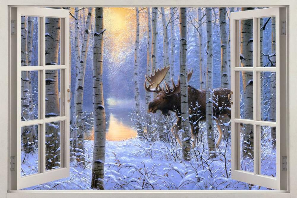 Moose In Snow 3d Window View Decal Wall Sticker Home Decor