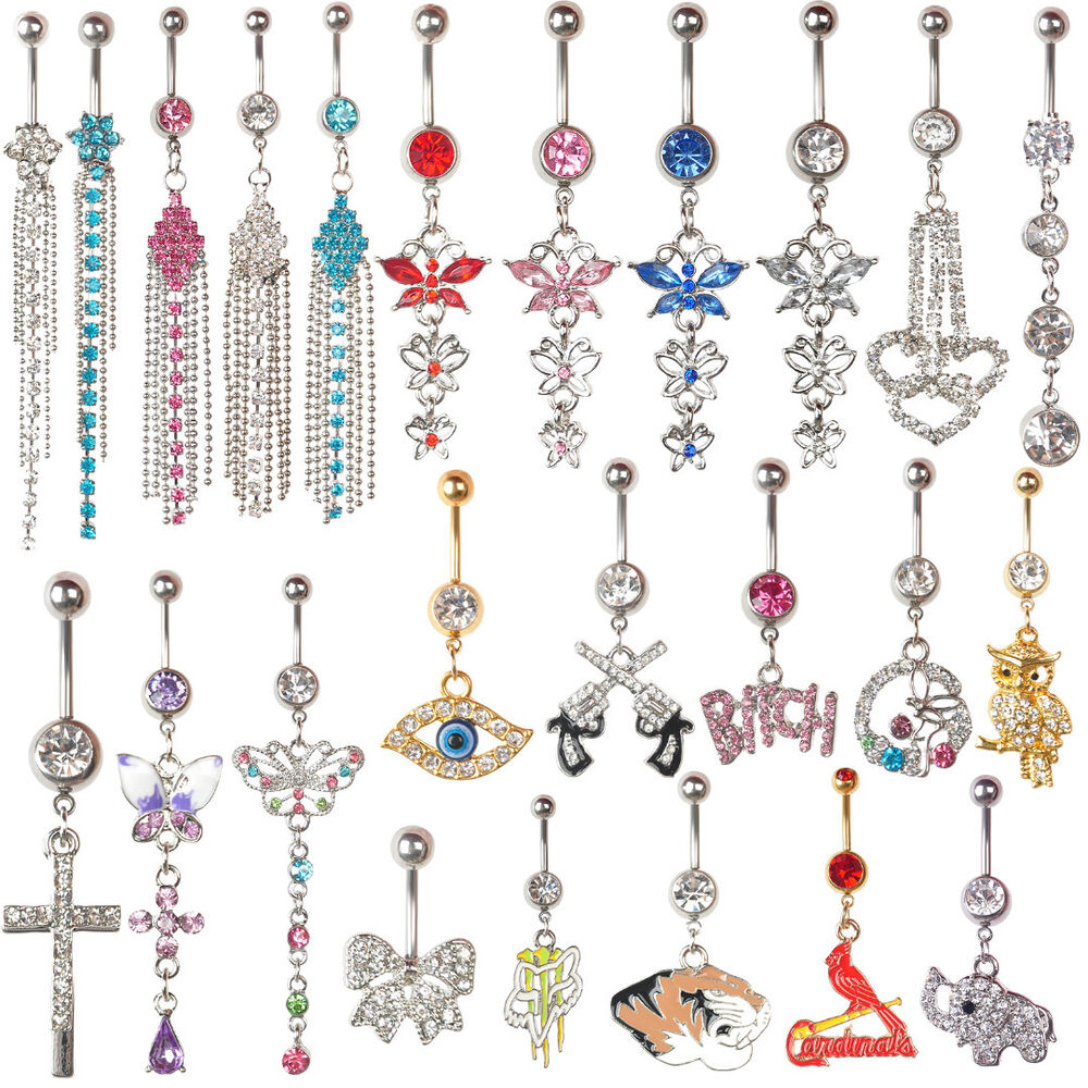 Belly button rings dangle crystal rhinestone navel bar for Types of body jewelry rings