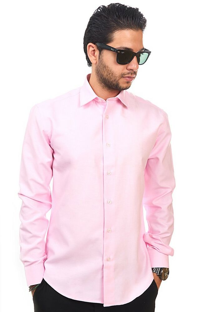 New Mens Dress Shirt Solid Pink Tailored Slim Fit Wrinkle
