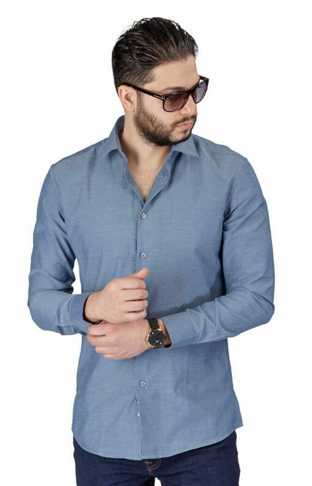 New mens dress shirt solid grey tailored slim fit wrinkle for Wrinkle free dress shirts amazon