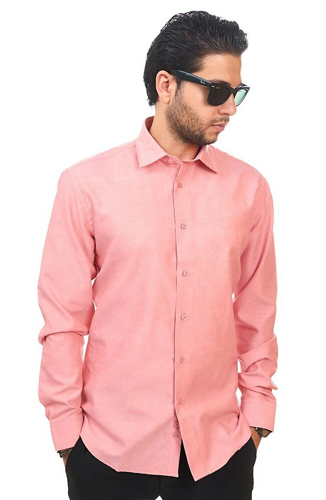 New Mens Dress Shirt Solid Coral Tailored Slim Fit Wrinkle