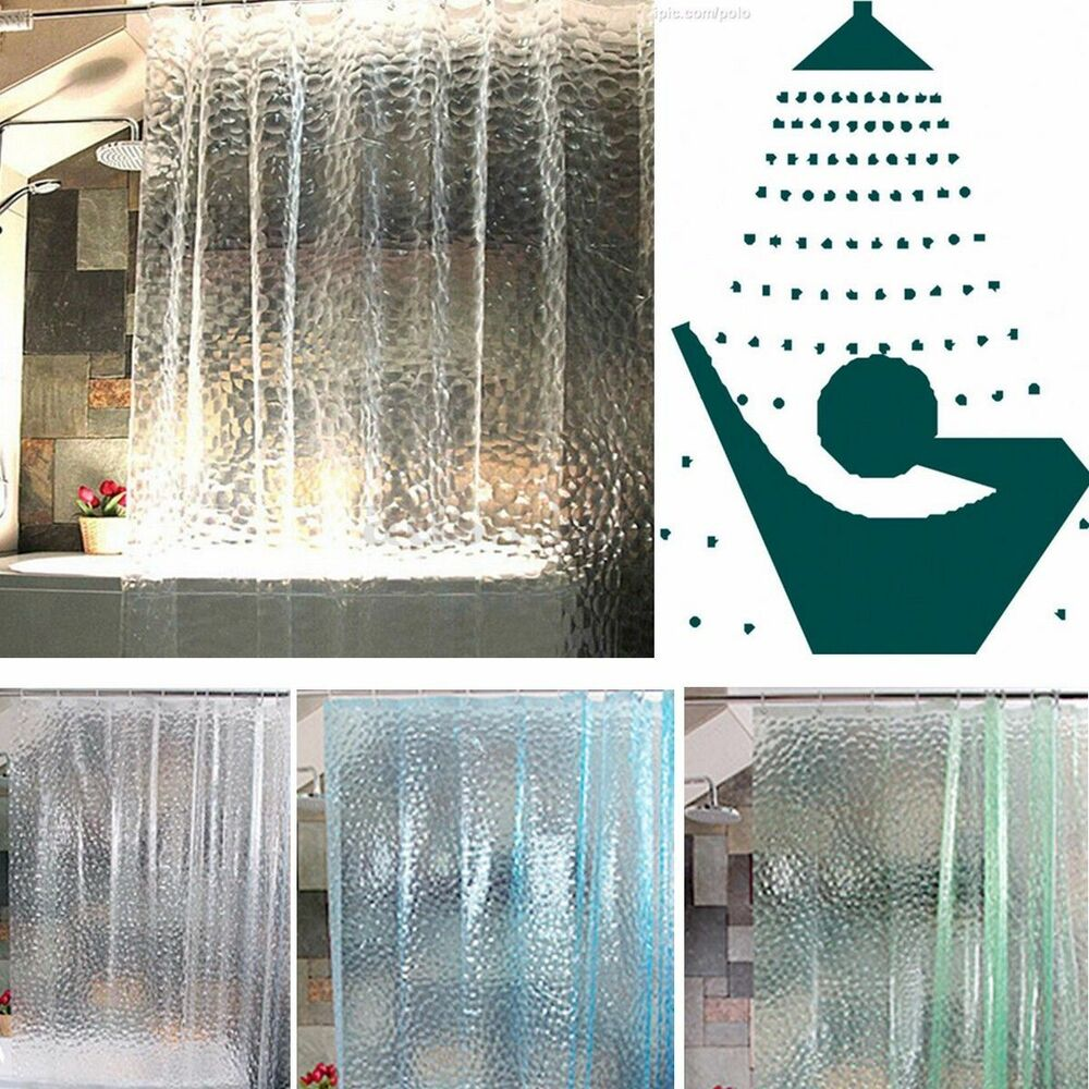 Clear 3D Water Cube Design PEVA Shower Curtain Bathroom Waterproof Fabric 72