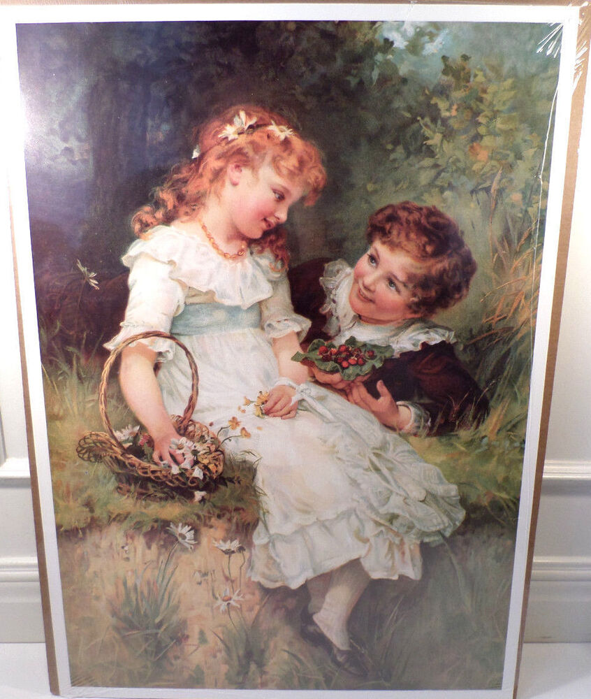 """Victorian Lithograph Print Picture """"Sweethearts"""" Little"""
