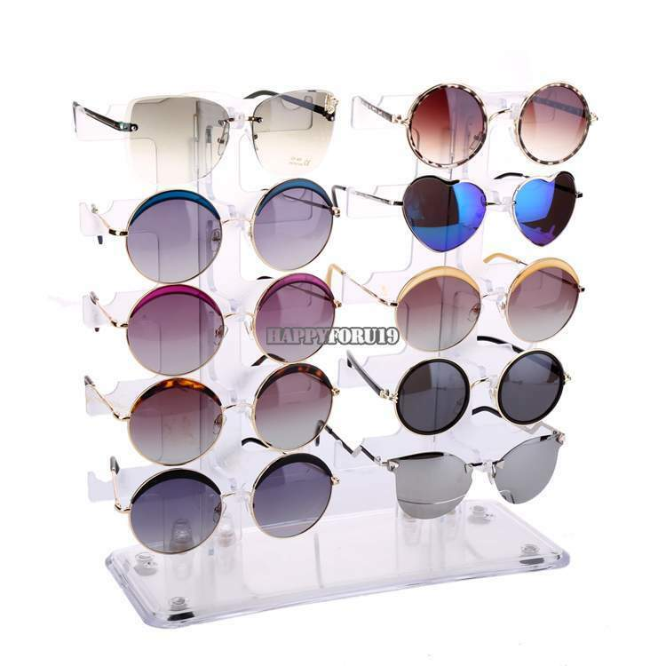 Glasses Frame Display : 10 Pair 2 Row Sunglasses Eyeglasses Glasses Rack Holder ...