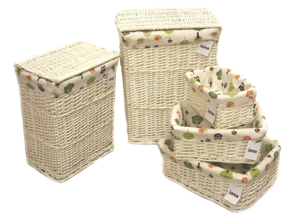 Arpan white wicker laundry or storage hamper basket with owls cloth 5 size ebay - White wicker clothes hamper ...