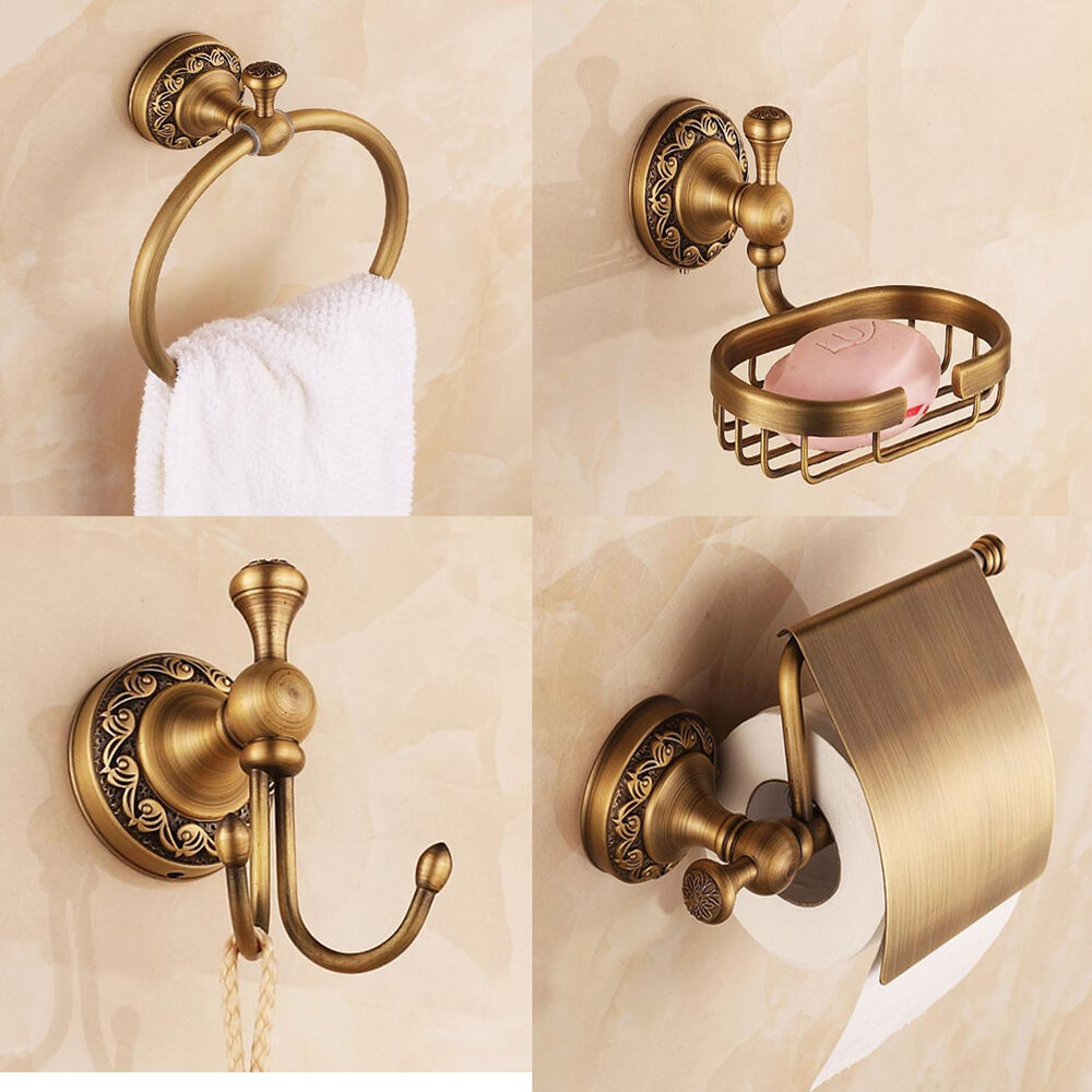 4pieces antique bronze brass bathroom accessory sets ebay for Vintage bathroom accessories