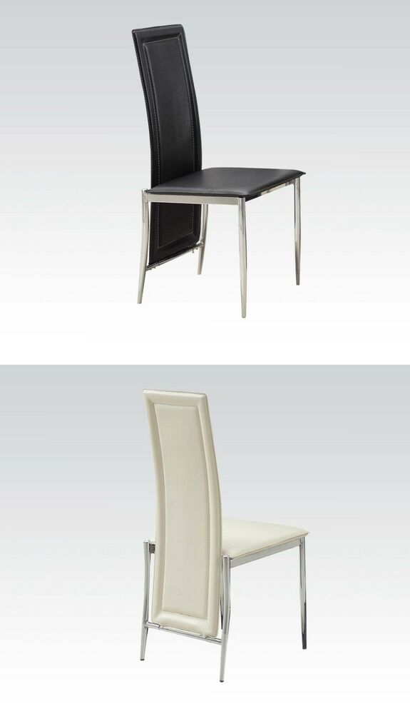 Chrome legs high back dining side chairs set in black or for White high back dining chairs