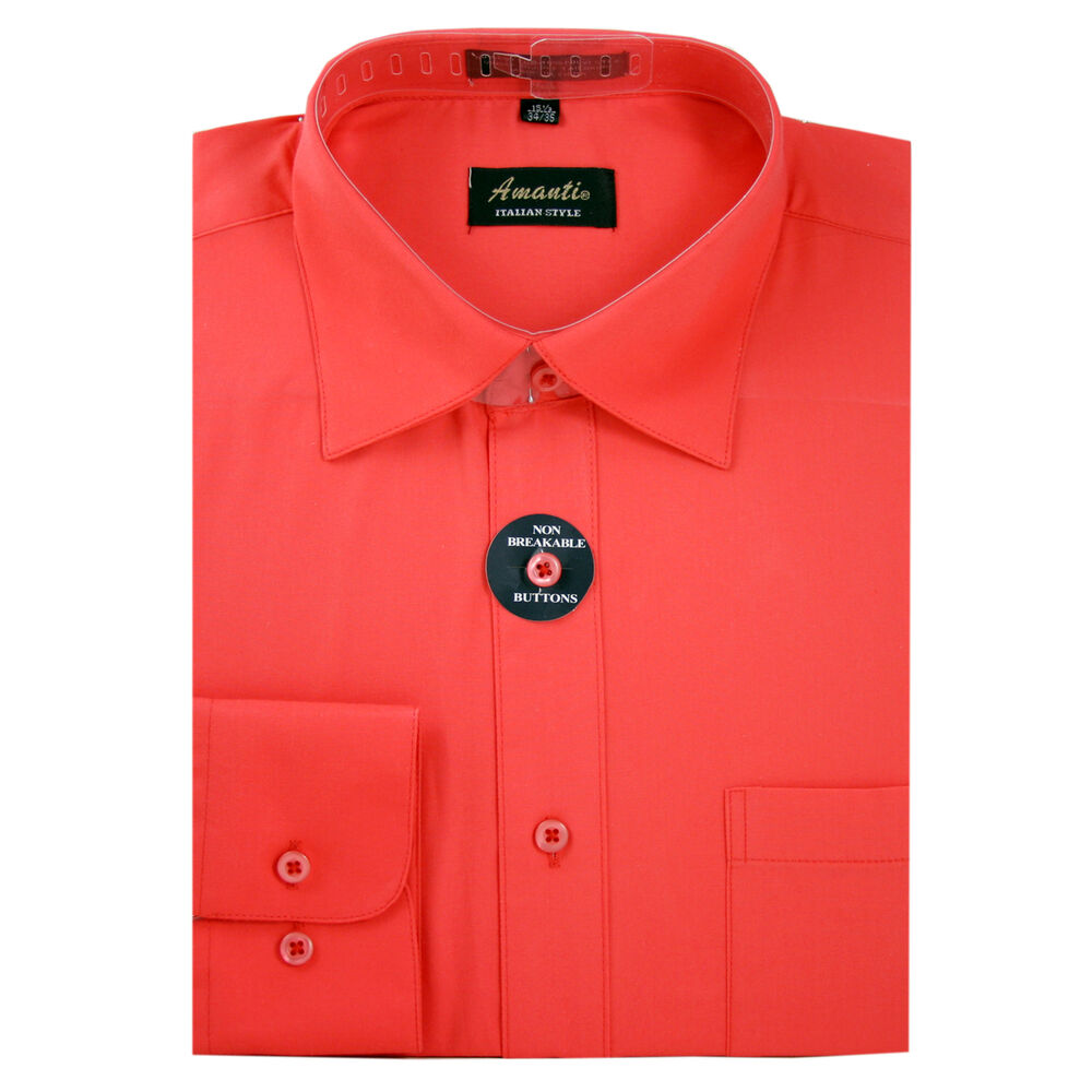 Mens dress shirt plain coral modern fit wrinkle free for Coral shirts for guys