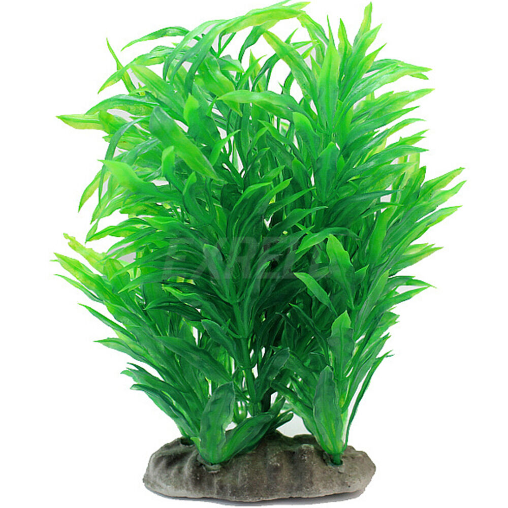 Green artificial aquarium fish tank plastic plant water for Artificial fish pond plants