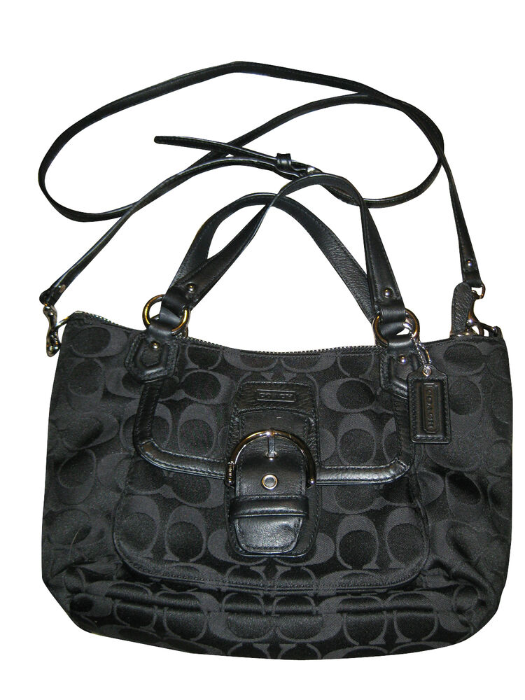 New Coach Black Signature Mini Tote Crossbody Purse