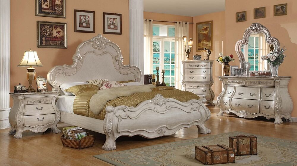 Formal traditional antique white bedroom set queen bed - White vintage bedroom furniture sets ...