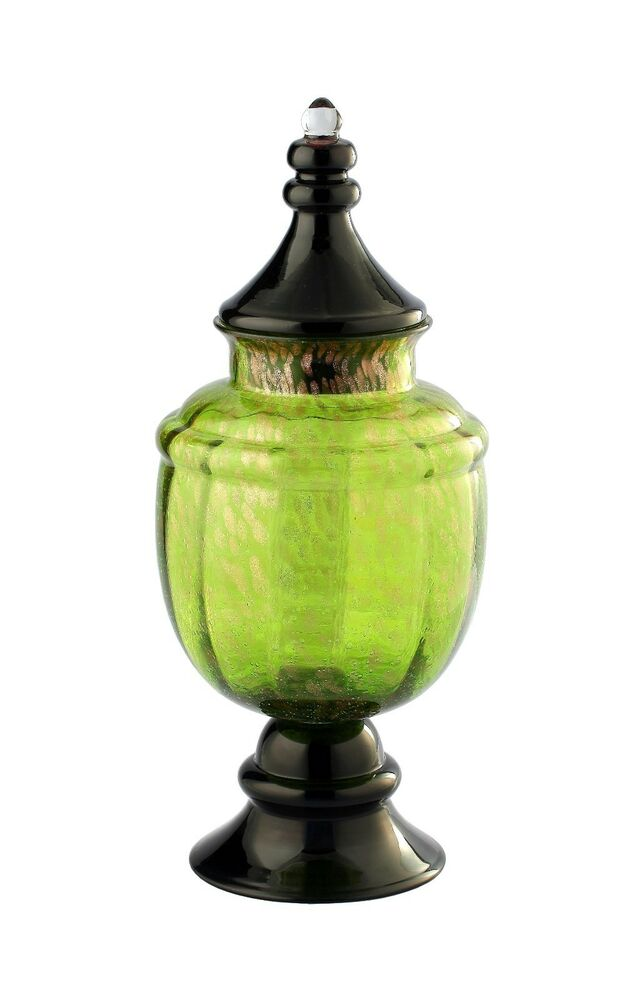 new large 21 hand blown art glass footed vase apothecary jar green decorative ebay. Black Bedroom Furniture Sets. Home Design Ideas
