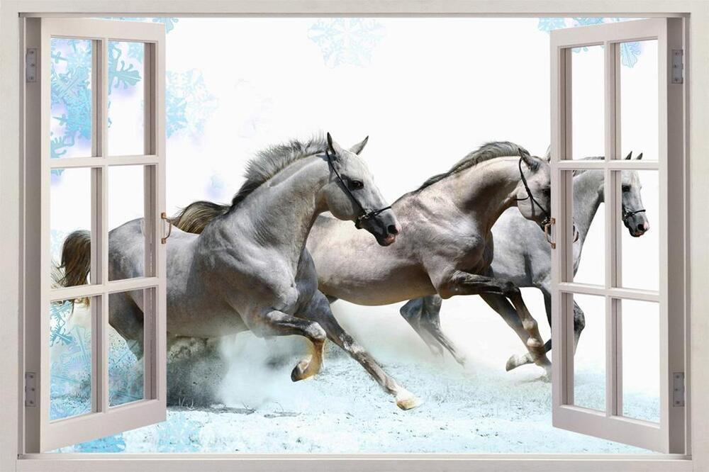 Galloping white horses 3d window view decal wall sticker for Window horses