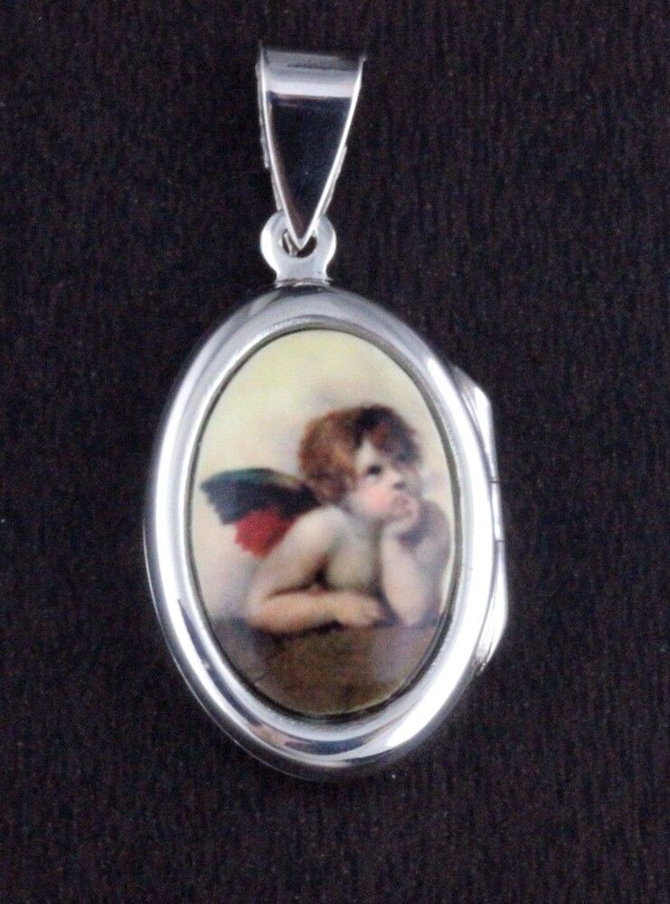 925 Sterling Silver Guardian Angel Opens Photo Locket Icon