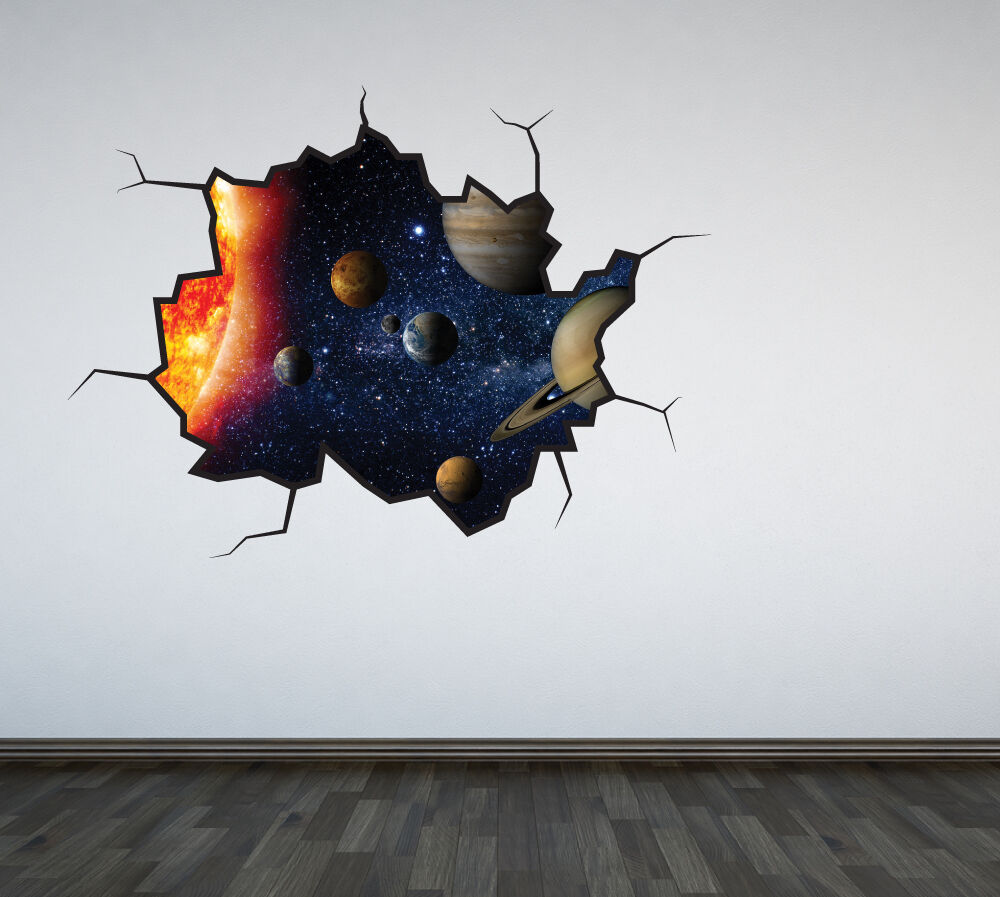 Solar system cracked wall sticker decal space galaxy boys for Wall decor outer space