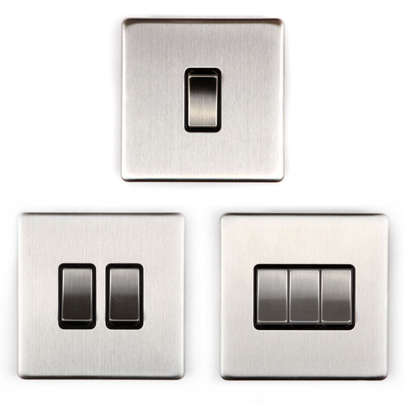 Area 1/2/3 Gang Wall On/Off Light Switch Brushed Chrome Finish Screwless eBay