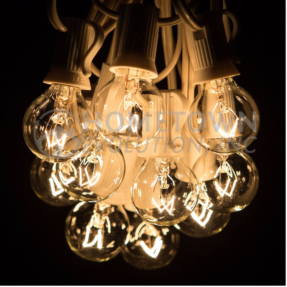 Clear Globe String Lights 100 Ft : 100 Foot Outdoor Globe Party String Lights - Set of 100 G30 Clear Bulbs eBay
