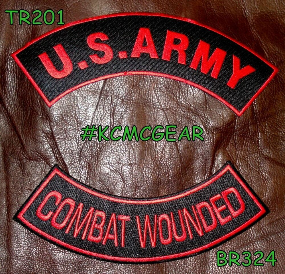 Us Army Combat Wounded Red On Black Military Patches Set