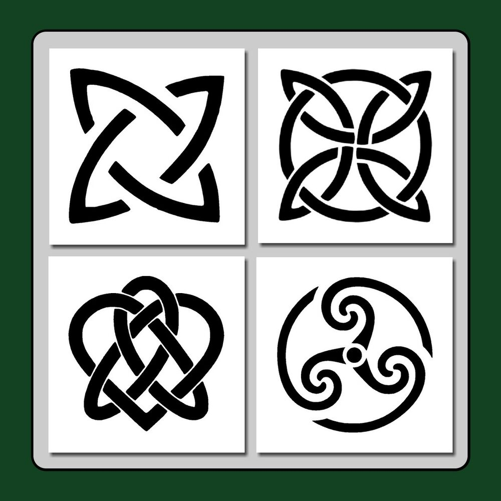 Set of 4 Celtic Knots Craft STENCILS 4 X 4 each Wiccan ...