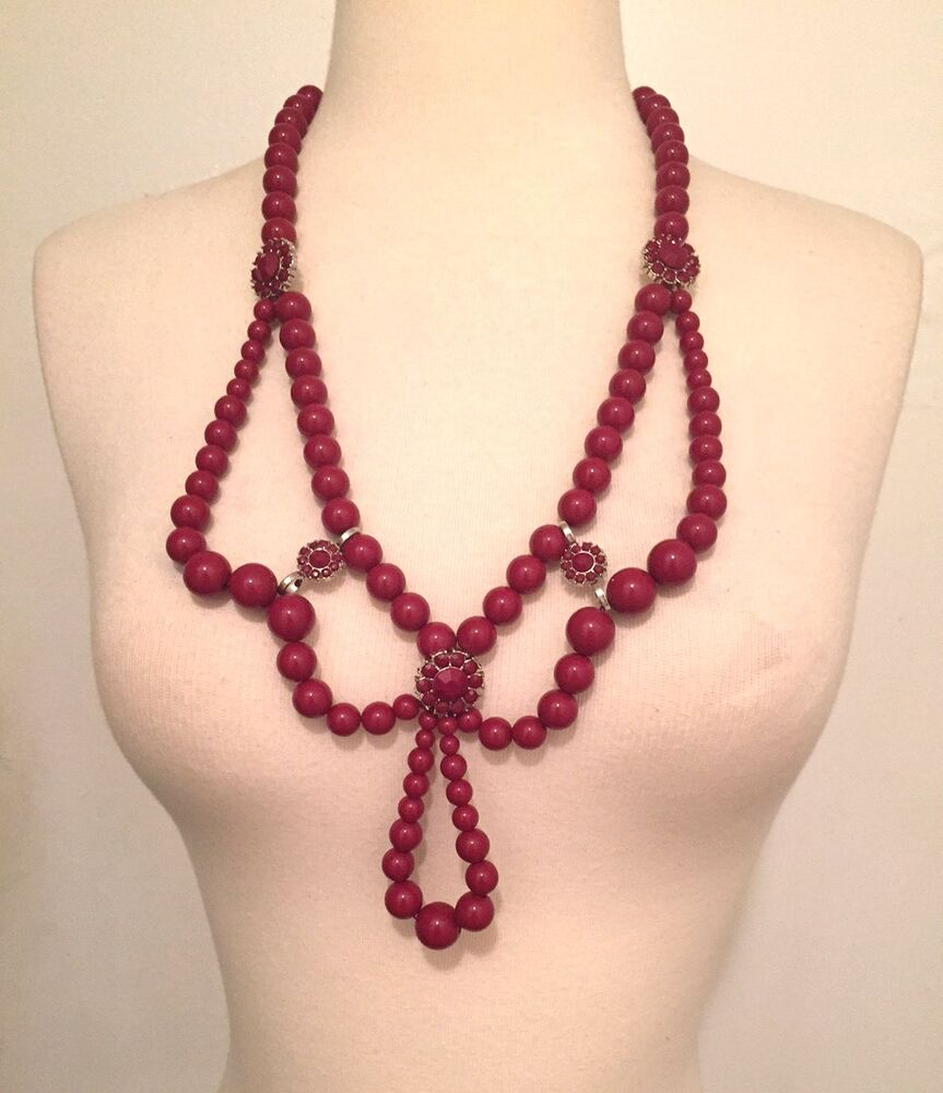 Statement necklace h m red beads ribbon tie new with tags for Ribbon tie necklace jewelry