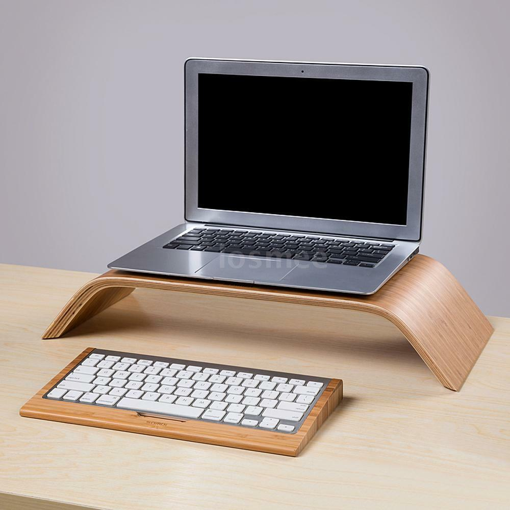 new bamboo wood wooden bluetooth keyboard stand dock holder for imac pc computer ebay. Black Bedroom Furniture Sets. Home Design Ideas