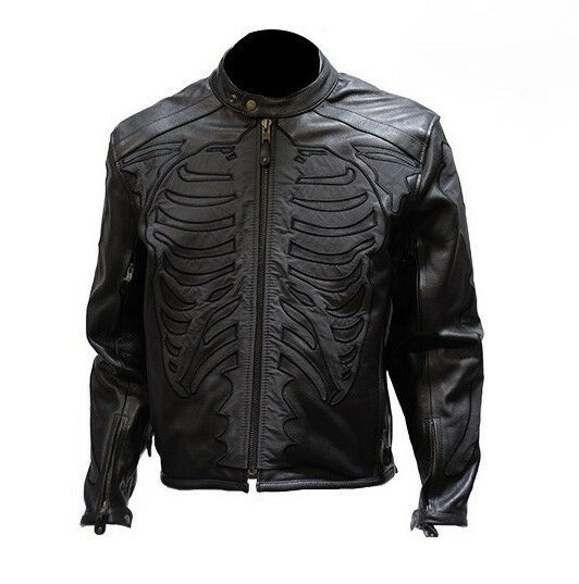 Mens Black Naked Leather Cowhide Riding Reflective ...