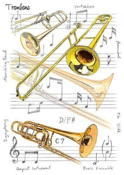 Greetings And Or Birthday Cards Musical Theme Cello Trombone Piano Keys Notes