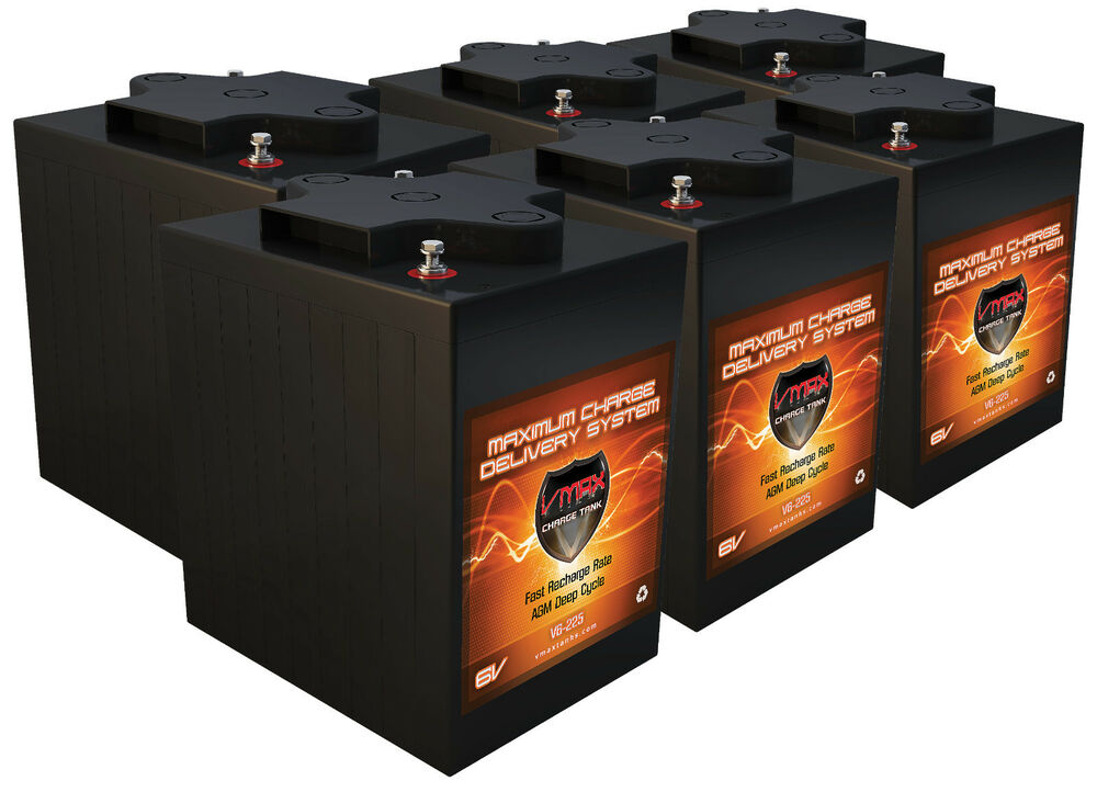 6volt golf cart batteries qty6 36v agm 6 volt 225ah vmax for Interstate deep cycle trolling motor battery